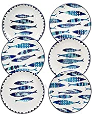 Fish Pattern Ceramic Plates set of 6 By Piatti Naturali, 8.3 inch, Dessert Plates, Appetizer Plates, Salad Plates, Luncheon Plates, Small Dinner Plates, Party Plates, Cake Plates.