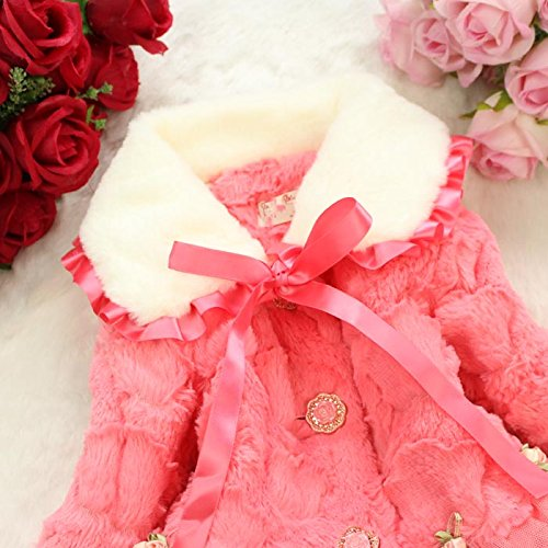 Baby Girls Kids Faux Fur Lace Warm Jacket Winter Coat Snowsuit Outwear Clothing 5T/4-5Years Pink by Dolpind (Image #6)