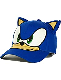 Sega Sonic The Hedgehog Big Face Kids Youth Velcro Adjustable Cap Hat with Ears