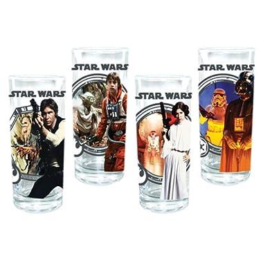 Vandor 99079 Star Wars 4 pc 10 oz Glass Set, Multicolor