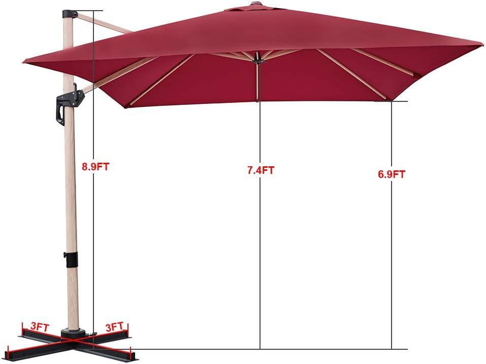 PAPAJET 10 Feet Offset Cantilever Patio Umbrella Square Deluxe Aluminum Wood Pattern Outdoor Hanging Umbrella with Cross Base Khaki Easy Tilt Garden Umbrella 360/° Rotated