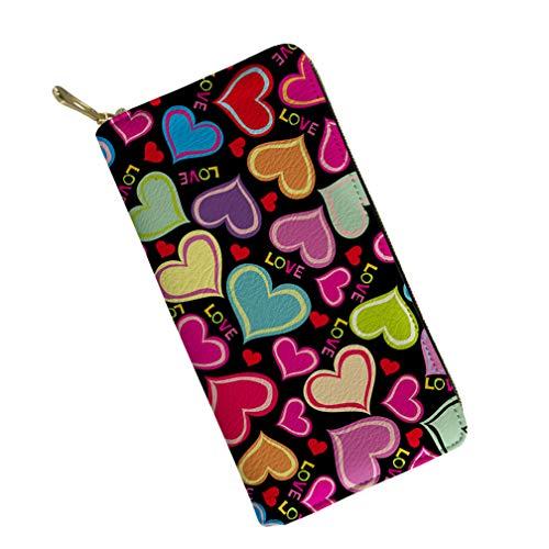 Women Travel Long Wallet Heart Print Designer Clutch Purse Card Phone ()