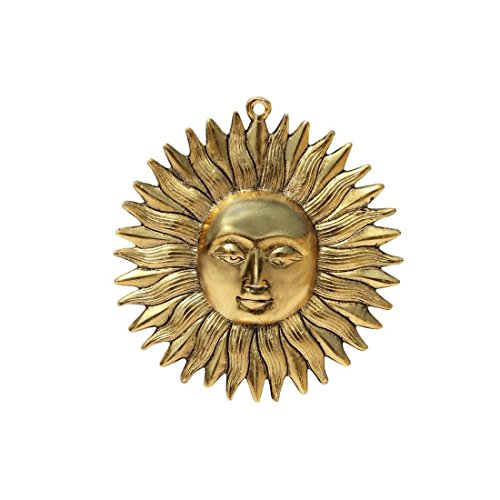 HANDICRAFTS PARADISE Hanging in Metal Sun Shaped Golden Finish