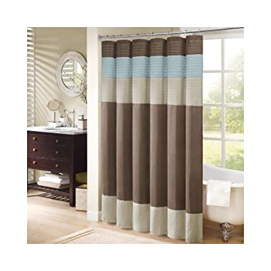Madison Park MP70-220 Pieced Faux Dupioni & Polyester Shower Curtain, Natural/Trinity Blue