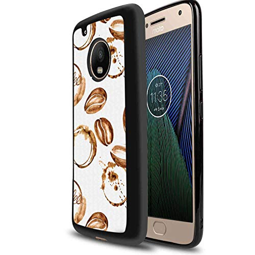 Motorola Moto G6 Soft TPU Case 5.7 Inch Coffee Conceptual Watercolor Art with Beans and Spilled Java Drops Circular Stains Pale Brown White