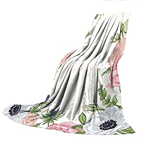 """SCOCICI Super Thick Flannel Double-Sided Printing Blanket,Anemone Flower,Spring Nature Inspired Framework with Pastel Colored Flora Decorative,Pistachio Green Pink Silver,31.50"""" W x 47.25"""" H 100"""