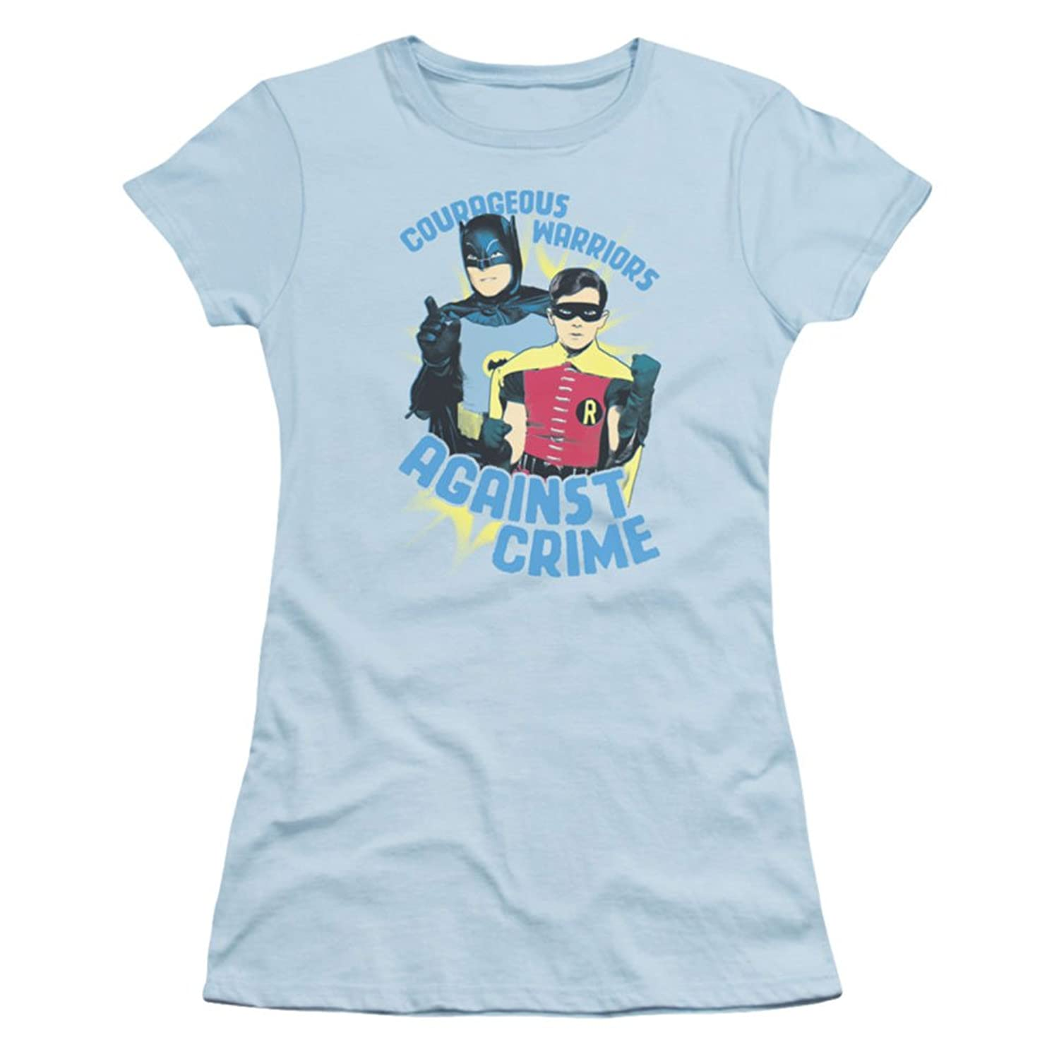 BATMAN CLASSIC TV/COURAGEOUS WARRIORS - Short Sleeve JUNIOR SHEER - LIGHT BLUE