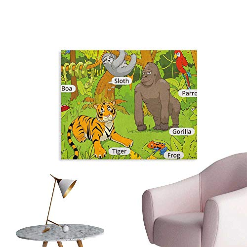 (Anzhutwelve Educational Photographic Wallpaper Jungle Animals Colorful Funny Hand Drawn Style Zoo Nature Tropical Wildlife Poster Print Multicolor W36 xL24)