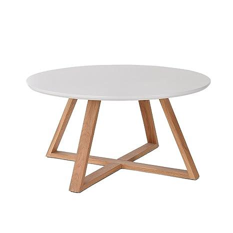 Glj Table Basse En Bois Massif Simple Table Ronde Moderne Petit