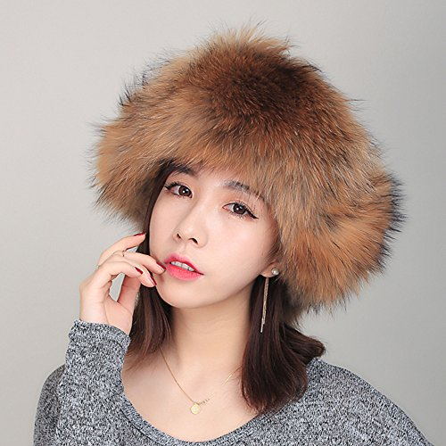 Qmfur Women High Quality Big Raccoon Mao Leifeng Earmuffs Hat Big Fur Hats