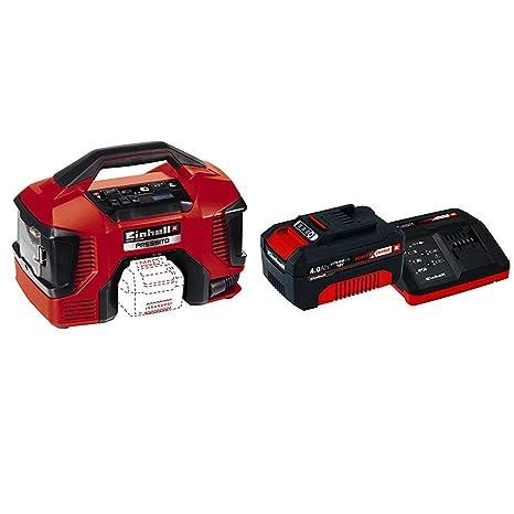 Einhell Compresor Híbrido Pressito Power X-Change (Li-Ion, con cable de corriente o batería recargable; incluye conjunto) + 4512042 Kit con Cargador y ...