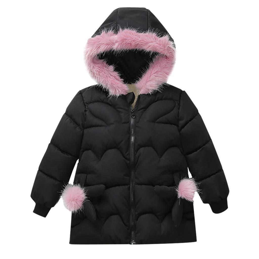 BFYOUChildren's Fashion Jacket Winter Jacket Warm Hooded Children's Clothing Jacket (1 Year - 3 Years Old) Black by BFYOU_ Girl Clothing