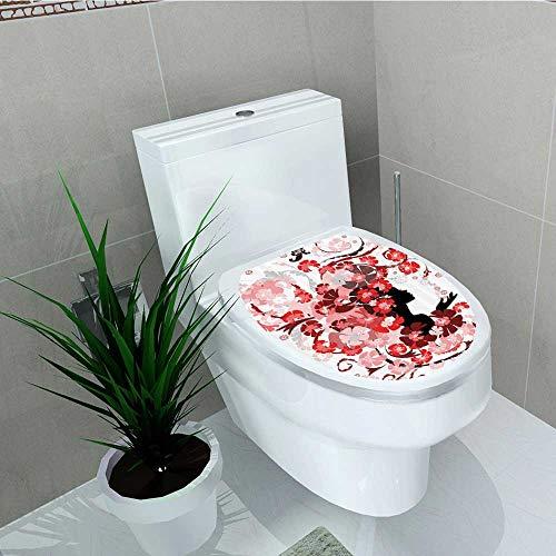 Printsonne Bathroom Removable PVC Flower Girl Hair Swirling Pink Blossoms Hair Dressers auty Feminine Vinyl Removable Bathroom W12 x L14 -