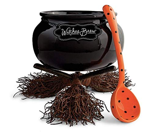 Boo Boutique Witch Broom Cauldron Serving Bowl Dish