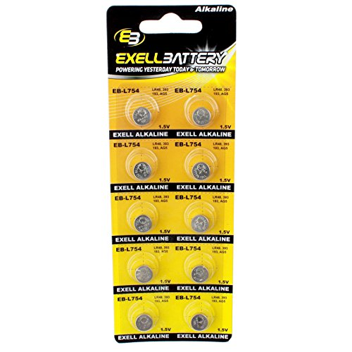 10pk Exell EB-L754 Alkaline 1.5V Watch Battery Replaces AG5 393 LR48 - Lms 123