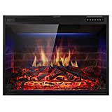 """brick fireplace remodel Xbeauty 33"""" Electric Fireplace Insert Recessed in Wall Freestanding Heater w/Large Screen Multicolor Flames,Adjustable Flame Speed,Remote Control,750w/1500w,Black"""