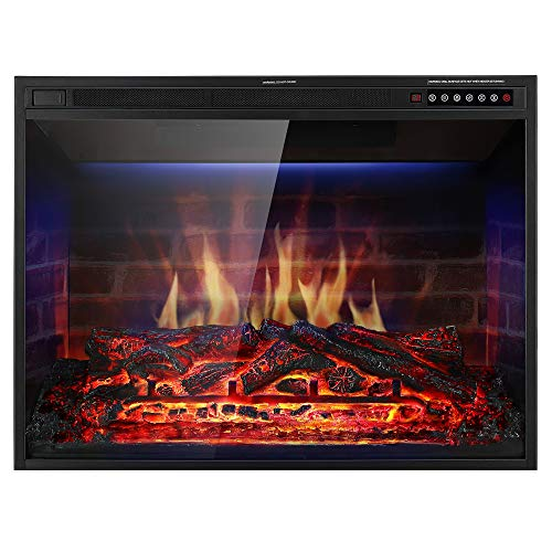 """Xbeauty 33"""" Electric Fireplace Insert Recessed in Wall Freestanding Heater w/Large Screen Multicolor Flames,Adjustable Flame Speed,Remote Control,750w/1500w,Black"""