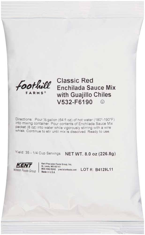 Foothill Farms Classic Red Enchilada Sauce Mix with Guajillo Chiles, 8 Ounce - 8 per case.