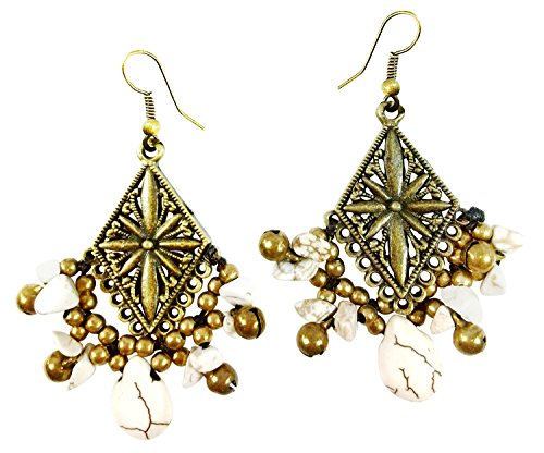 Wonder Twins Costumes Babies (Bijoux De Ja Filigree Rhombus Bronze and White Howlite Beads Drop Dangling Earrings)