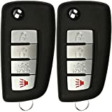 KeylessOption Keyless Entry Remote Car Uncut Flip Key Fob Control Replacement for KBRASTU15 (Pack of 2)