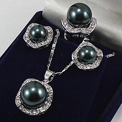 10mm &14mm Black South Sea Shell Pearl Earrings Ring & Necklace Pendant Set