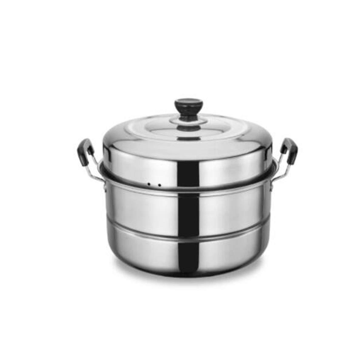 conveniente plata 32cm 32cm 32cm Kaiyitong01 Vaporera, vaporera de dos capas de acero inoxidable, olla doble de acero inoxidable de 32 cm para el hogar, cocina de inducción, estufa de gas, pescado al vapor y panecillos al vapor  Más asequible