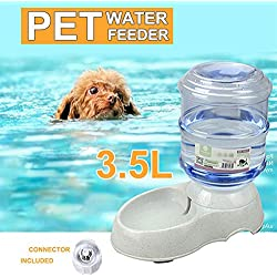 Aoile 3.5L Automatic Pet Feeder with Transparent Barrel & Marble Base Water Fountain Water Dispenser
