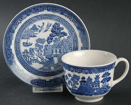 JOHNSON BLUE WILLOW TEA CUP \u0026 SAUCER 0.25CL PK2 MADE IN ENGLAND : blue willow dinnerware made in england - pezcame.com