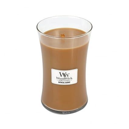 Woodwick tamaño grande, aroma vela en tarro de galletas de avena