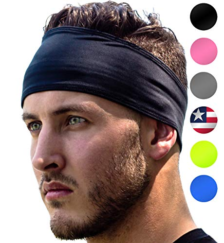American Football Caps - Sports Headband: UNISEX Fitness Headbands For Women & Men. Head Band Sweatband for Running, Yoga, Workout Gym Exercise. NO SLIP Sport Sweatbands & Sweat Wicking Athletic Head Wrap Bands Black