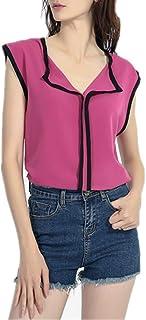 VEMOW Blusa sin Mangas de la Camisa de la Gasa del Dulce Fresco Fresco Ocasional Las Mujeres Camisetas