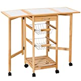 FDInspiration 31.1'' Rolling Drop Leaf Trolley Cart Storage Portable Pine Wood Dining Table w/Chrome Plated Pull-Out Baskets