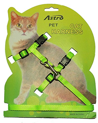 Adjustable Nylon Net Cat Harness and Leash. Available in Blue, Black, Red, Orange, Green, Pink (Neon - Nylon Harness Blue Cat