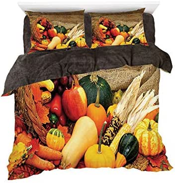 Homenon Thanksgiving Related Foods Scattered on Wooden Table Vegetables Fruits,3D Printed in Flannel Duvet Cover Set,Decorated on a 4ft Bed,4 Piece Bedding Set,Twin Size,Vermilion Brown Green