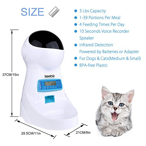 Iseebiz Automatic Cat Feeder 3L Pet Food Dispenser Feeder for Medium and Large Cat Dog--4 Meal, Voice Recorder and Timer Programmable,Portion Control ...