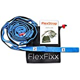 FlexFixx STRETCH STRAP to Increase Flexibility - Best for Yoga, Dance, Fitness, Pilates, Physical Therapy, Rehab, Recovery with 12 Loops, Padded Footrest, Mesh Bag and User Guide