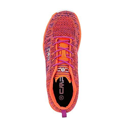 CMP - Zapatillas de tela para mujer ORANGE FLUO-MALVA ORANGE FLUO-MALVA