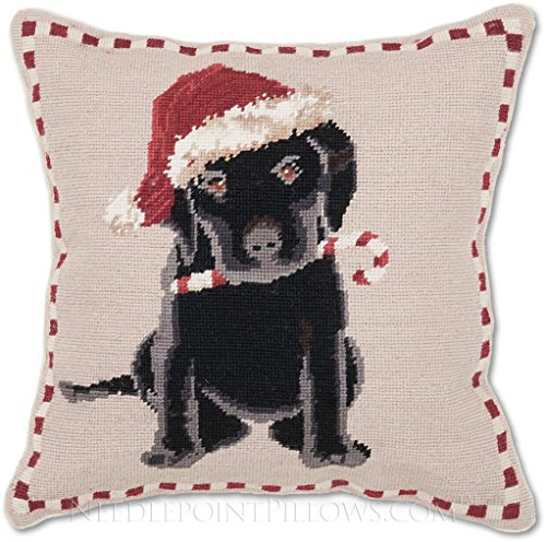 Handmade 100% Wool Holiday Black Lab Labrador Retriever Puppy Dog Santa Hat Merry Christmas Needlepoint Pillow. 16'' x 16''. by NeedlepointPillows.com