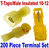 (200) T-Taps/Male Insulated 12-10 Ga Wire Connectors Car Audio Terminals USA