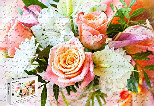 PigBangbang,29.5 X 19.6 Inch,Unique Puzzle Made of Wooden Decorative Painting - Bouquet Flowers Rose Daisy Orchid Calla vase - 1000 Piece Jigsaw Puzzle (Free Orchids Ship)