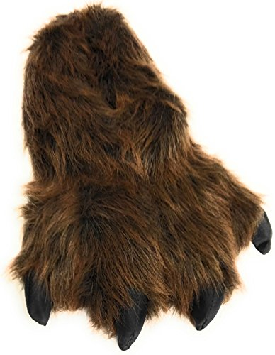 Wild Ones Furry Animal Claw Slippers for Toddlers, Kids and Adults (Large Womens 9 ½ to 12 and Mens 8 ½ to 14, Brown Grizzly) (For House Bear Slippers Women)