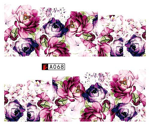 (Hot Selling Nail Art Flower Pink Colors Rose Water Design Tattoos Nail Sticker Decals For Beauty Manicure Tools)