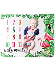 Baby Monthly Milestone Blanket for Boy Girl, Flannel Newborn Age Milestone Blanket, Soft Baby Growth Chart Blanket, Photography Background Blanket for Baby Shower ( Moon, 40 x 30 Inch )