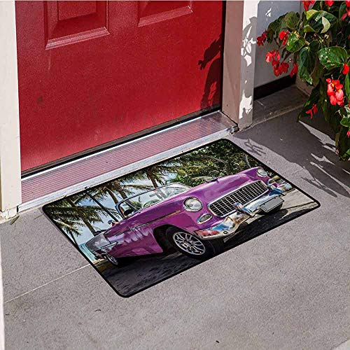 (Jinguizi Cars Universal Door mat Classic Colored Cabriolet Car Parked on The Beach in Cuba Seaside Exotic Trees Print Door mat Floor Decoration W19.7 x L31.5 Inch Violet Green )