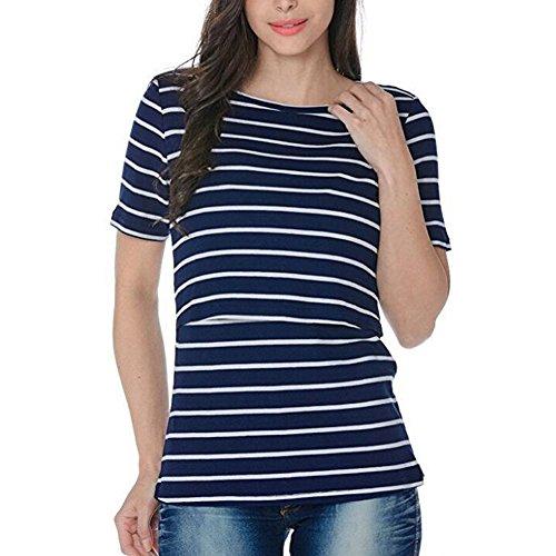 da allattamento Nursing Clothes Blu Maternity Shorts Yefree Top Sleeve Top qawZTA7