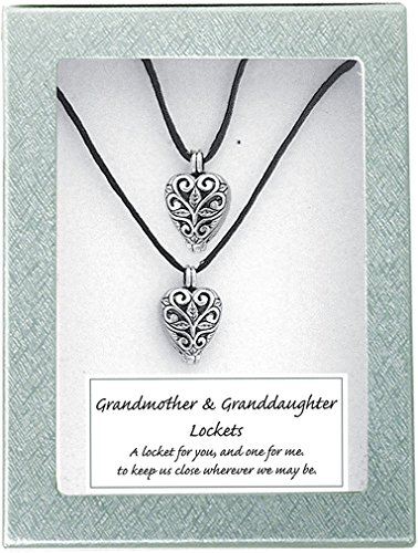 (Cathedral Art LS102 Grandmother and Granddaughter Heart Lockets, Includes Two 18-Inch Satin Cords)