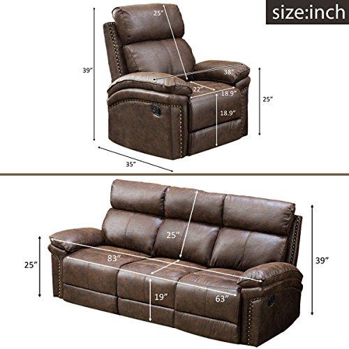 Harper & Bright Designs Sectional Recliner Sofa Set (Brown) (Chair & 3-Seat Recliner)
