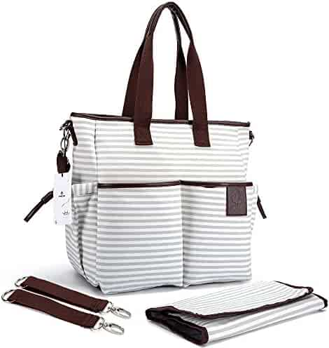Diaper Bag - Stylish Designer Baby Canvas Messenger Bags - Weekender Tote With Zipper Organizer By HYBLOM - Fashion Cute Nappy Striped Handbag For Moms - Changing Pad, Shoulder & Stroller Straps