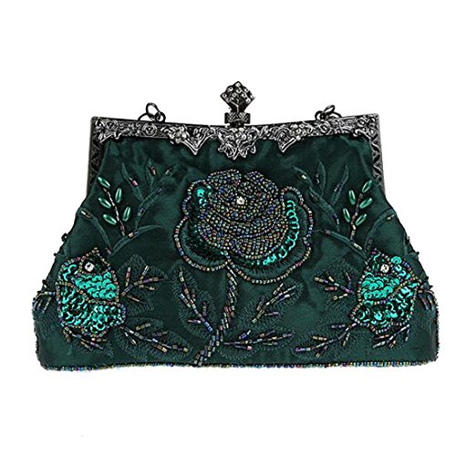 Large Purse Women Clutches Party Bead Wallet Green Deep Retro SEALINF Rose Wedding Bridal Handbags Bags Embroidered Yaxa7