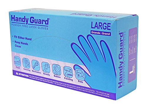 Adenna Handy Guard 4 mil Latex Powder Free Gloves (White, Large) Box of 100 ()